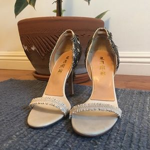 L.A.M.B. Size 10 Lesley Feather and Mirror Heels